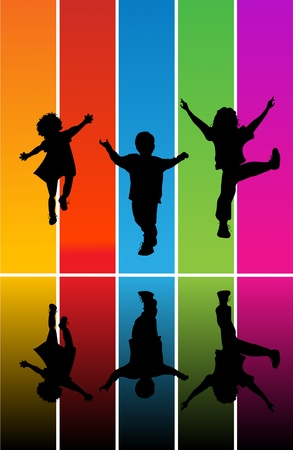 sings: Jumping children silhouettes over a rainbow background Illustration