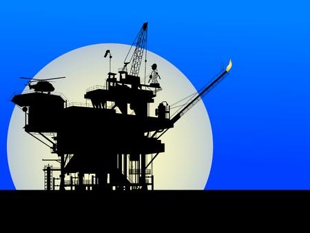 recursos naturales: Silueta de una plataforma petrol�fera en la luz de la Luna Vectores