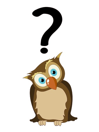 Stylized cartoon owl with question mark. isolated objects on white background.