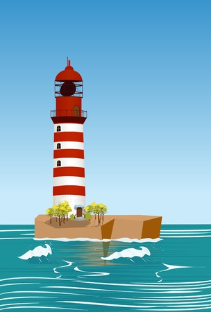 The red lighthouse, seascape background