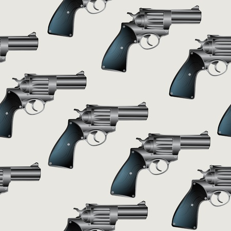 Seamless background pattern with hand gun, revolver Stock Vector - 9946518