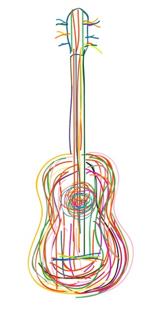 rock guitar: Acoustic guitar over white background Illustration