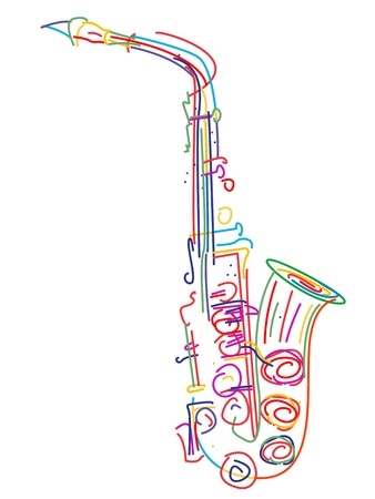 Illustration of a saxophone over white Illustration