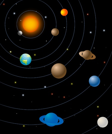 Solar system graphic, abstract art illustration Illustration