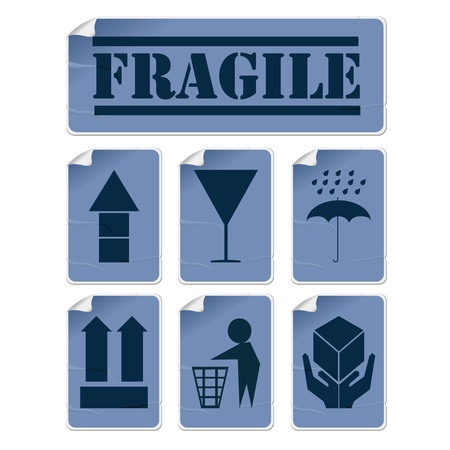 handle with care: Badly glued stickers, transportation symbols set in blue tones, isolated and grouped objects against white background Illustration