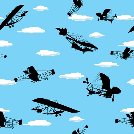 glider: Seamless wallpaper background with vintage plane silhouettes Illustration