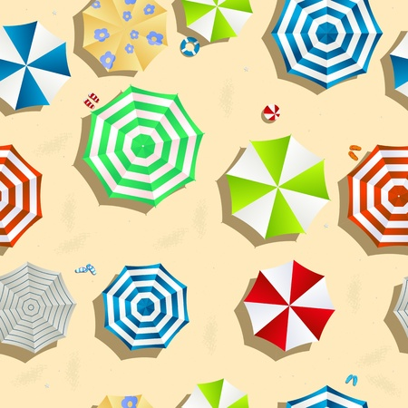 A beach background seamless pattern with color umbrellas, slippers and toys. 일러스트