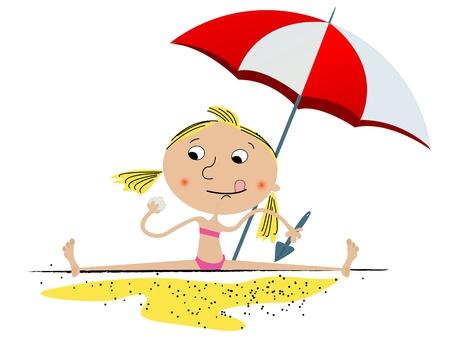 Illustration von einem kleinen Mädchen spielen am Strand. Isolierte Objekte auf weißem Hintergrund, leicht zu bearbeiten Grafik.