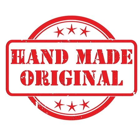 Grunge sello con estrellas pequeñas y el signo de mano hizo Original, símbolo Ilustración de vector