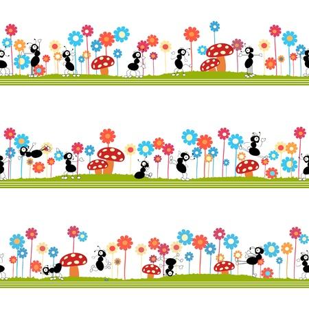 hormiga caricatura: Patr�n ornamental transparente para ni�os, revistas, sitios web, industria textil con baile hormigas