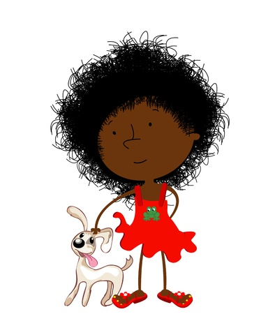 child tongue: Cute curly hair black girl and puppy, isolated objects over white background