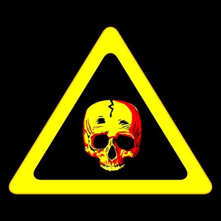 A human skull warning sign over black Vector