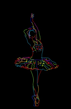 Stylized sketch of a ballerina, isolated objects over black background Vector