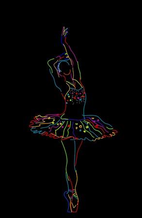 Estilizado dibujo de una bailarina, objetos aislados sobre fondo negro