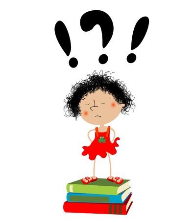 petite fille triste: Malheureuse petite fille assise sur les manuels scolaires