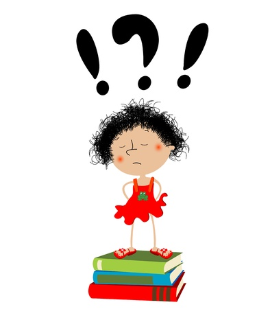 Unhappy little girl sitting on school books Illustration