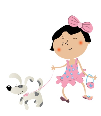 Fancy cute little girl walking the dog and wearing her brand new dress. Stock Vector - 9981649