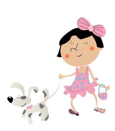 Fancy Linda niña paseando el perro y su vestido nuevo. Foto de archivo - 9981649