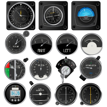 indicator panel: Aircraft instruments, isolated and grouped objects on white