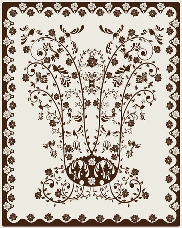 jugendstil: Art Nouveau decorative background with floral motives and stylized birds. Illustration