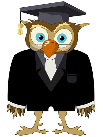 cartoon owl: Cartoon drawing of a owl in a suit with graduate hat and glasses