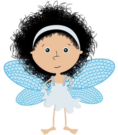angel girl: Cute little angel over white Illustration