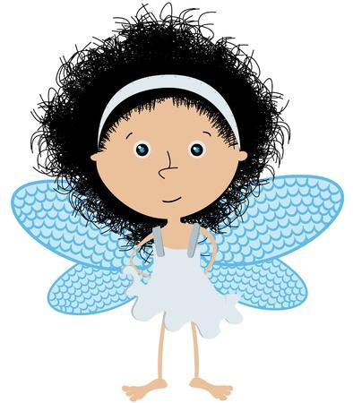 nice hair: Cute little angel over white Illustration