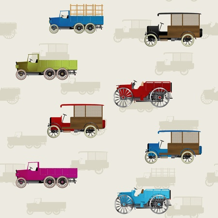 old truck: Seamless background with vintage cars in colors Illustration