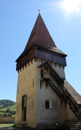 Fortified church tower in Biertan, Romania Stock Photo - 10377403