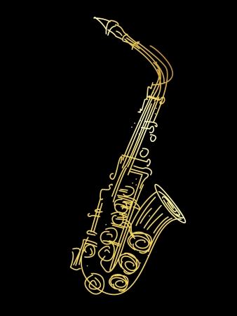 saxophone: A golden saxophone, stylized hand drawing graphic