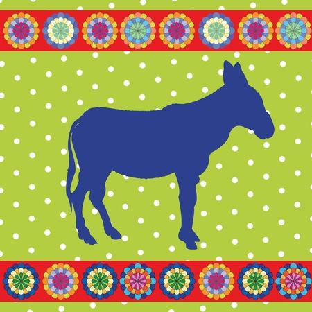 donkey clip art,retro style card Stock Vector - 10455529