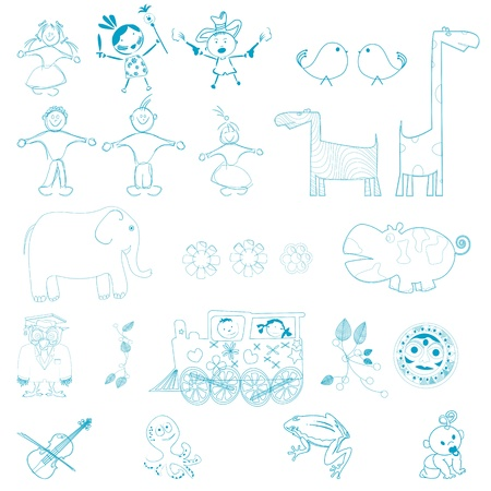 Doodles, cartoon outlines characters over white background, easy to edit, fill with color. Vector