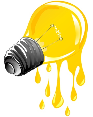 dripping energy light bulb. Isolated and grouped objects over white background Stock Vector - 10455410