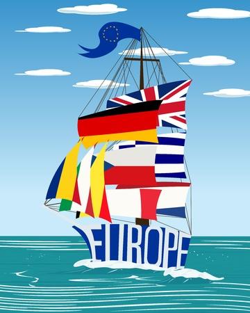europeans: Concettuale europea nave di bandiera grafica