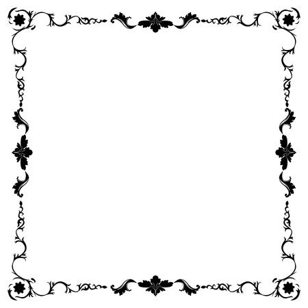 gothic revival style: art nouveau black and white floral frame Illustration