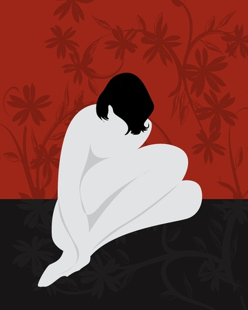 woman sketch: Stylized nude girl sitting, abstract art Illustration