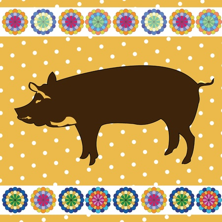 Pig clipart background, retro style card Stock Vector - 10455528