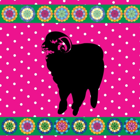 Sheep clipart background, retro style card Stock Vector - 10455526