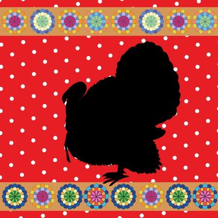 turkey clipart background, retro style card Stock Vector - 10455527