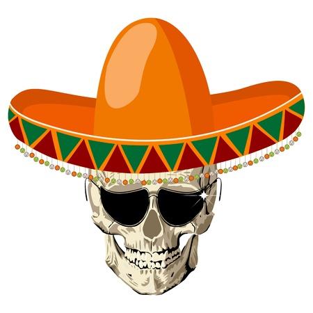 """sombrero de charro: Cráneo humano mexicano con sombrero de sombrero y gafas, icono conceptual para el """"Día de los Muertos"""" de vacaciones"""