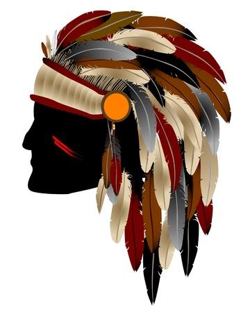 indian chief headdress: Nativi americano capo indiano con piume, isolato oggetto su sfondo bianco