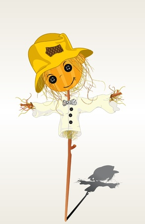 Smiling scarecrow and shadow Vector