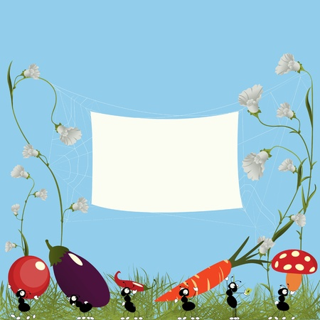 cartoon ant: Cartoon illustration with ants carrying vegetables and a banner for text Illustration