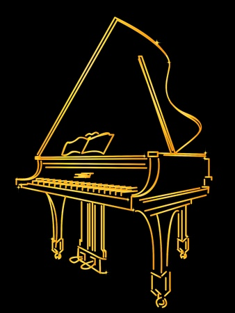 A golden piano stylized sketch over black