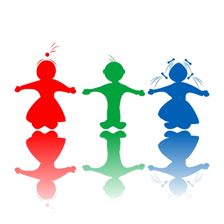 kinder: Happy hugging children silhouettes in colors, isolated objects over white background Illustration