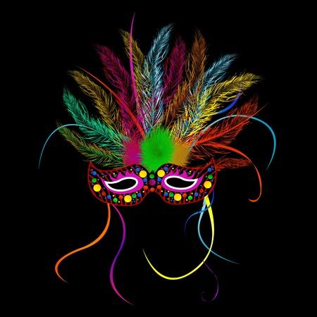 carnaval masker: Mardi gras feest masker op zwarte achtergrond Stock Illustratie