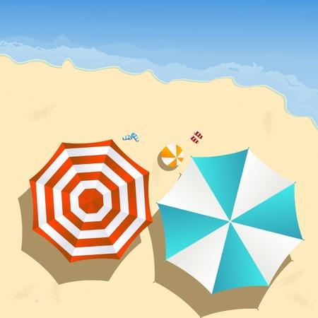 mare mosso: Coppia di ombrelloni sulla spiaggia, arte grafica Vettoriali