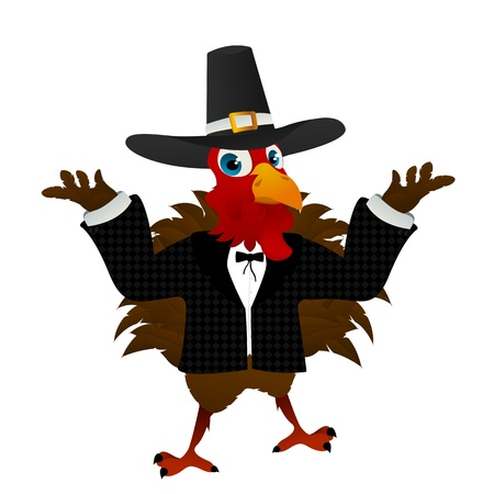 A pilgrim turkey cartoon over white background. No blend or gradient mesh used.