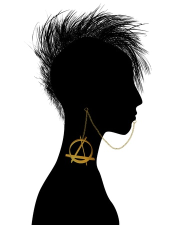 punk hair: Hand drawn punk girl silhouette with piercing