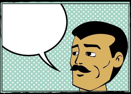 blab: Pop art uomo retr� con fumetto, fumetti stile grafico Vettoriali